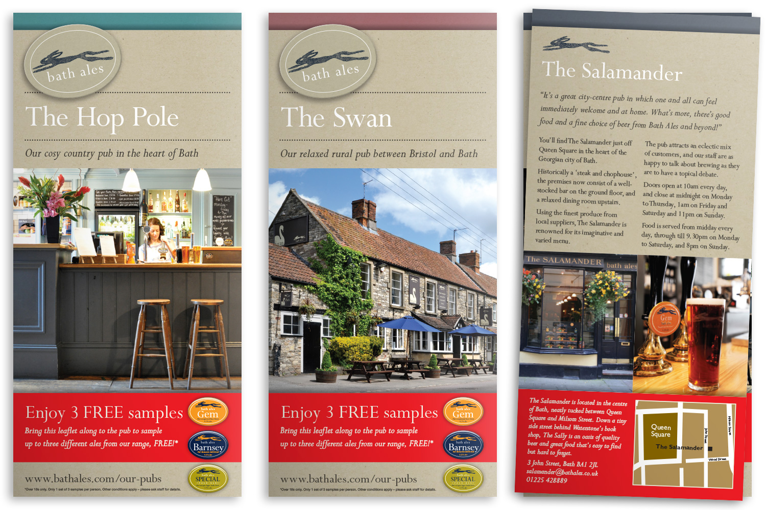 2pp leaflets for several Bath Ales pubs (from 2012)