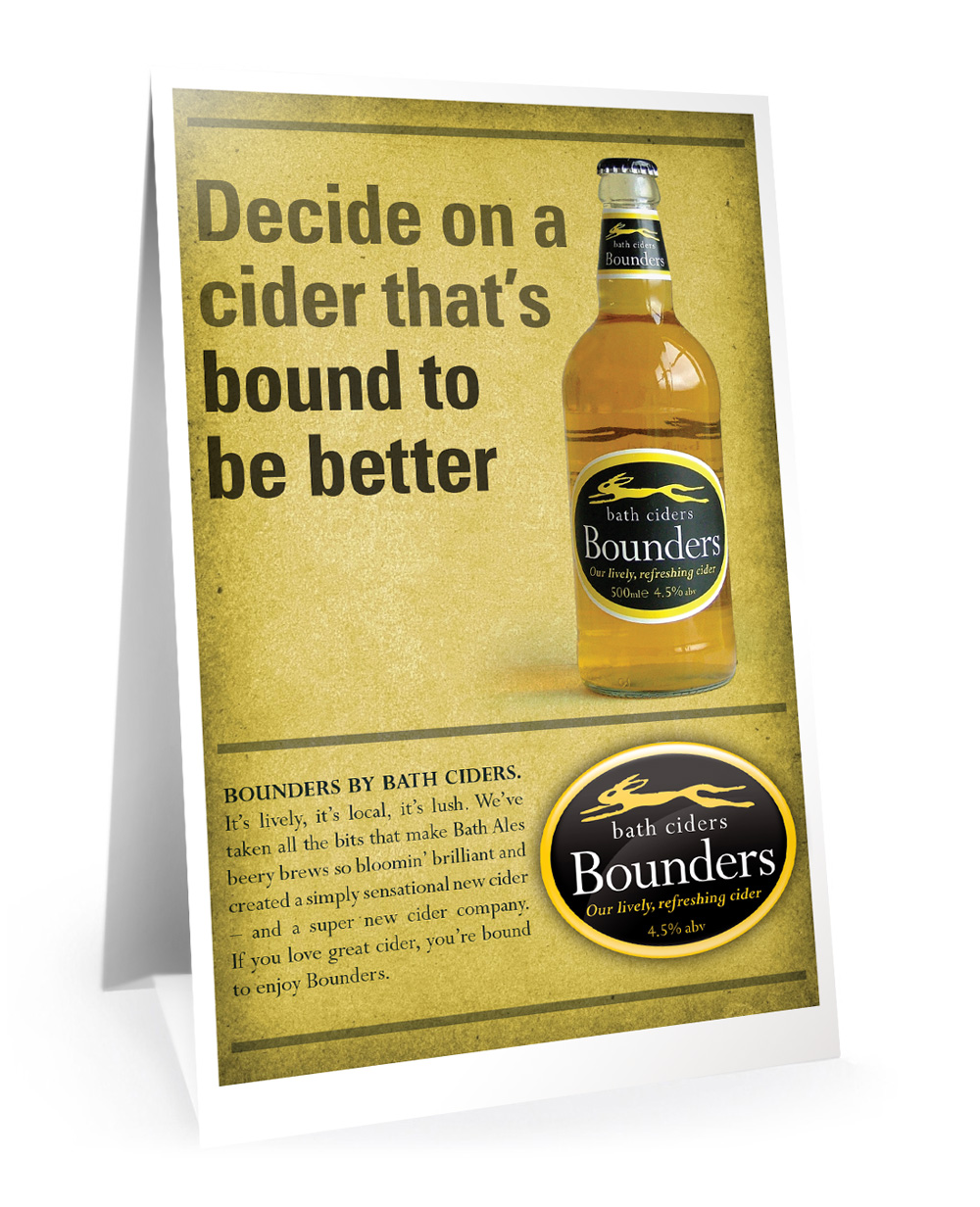 Bounders promotional tent card