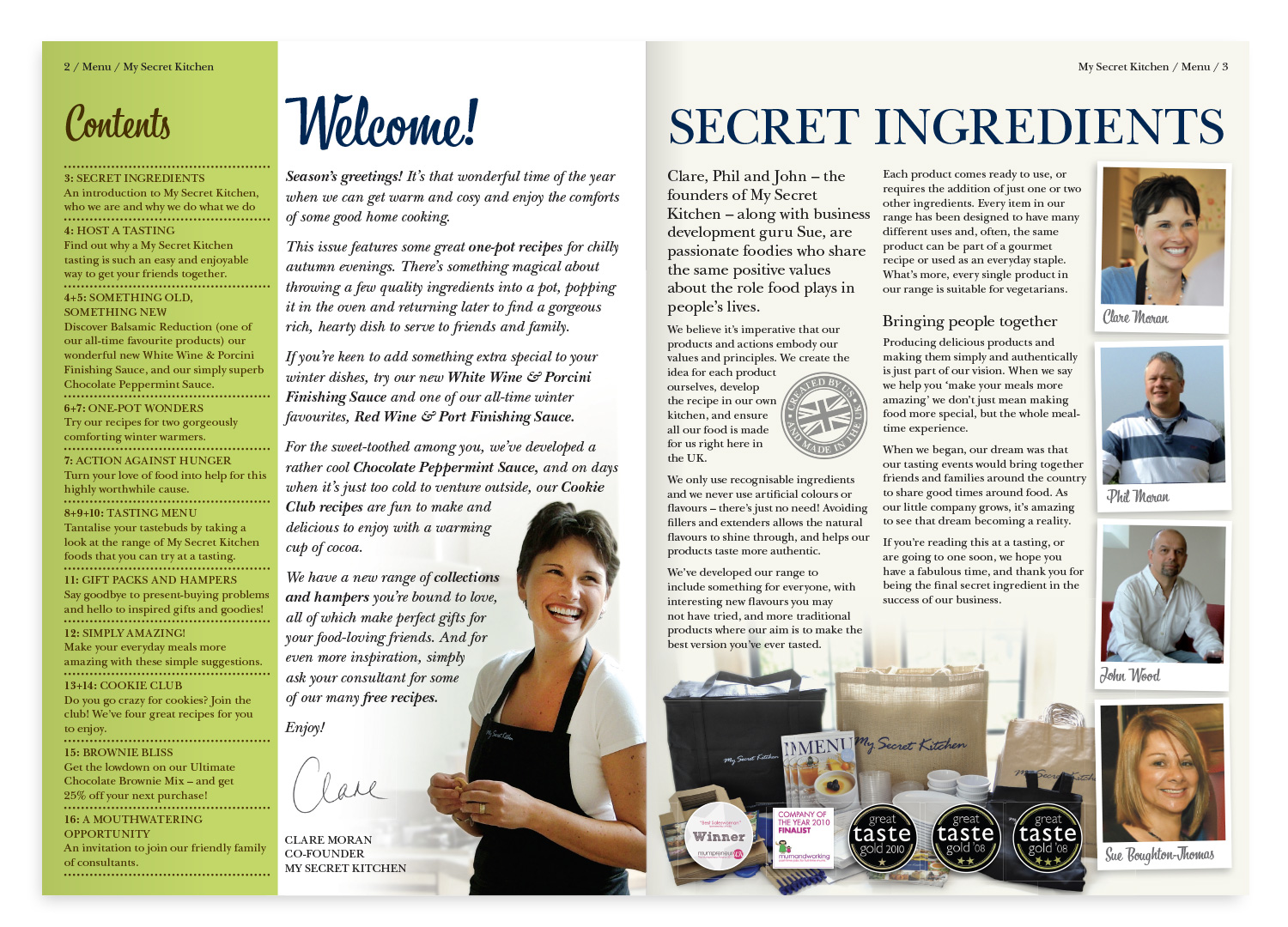 My Secret Kitchen 'Menu' magazine