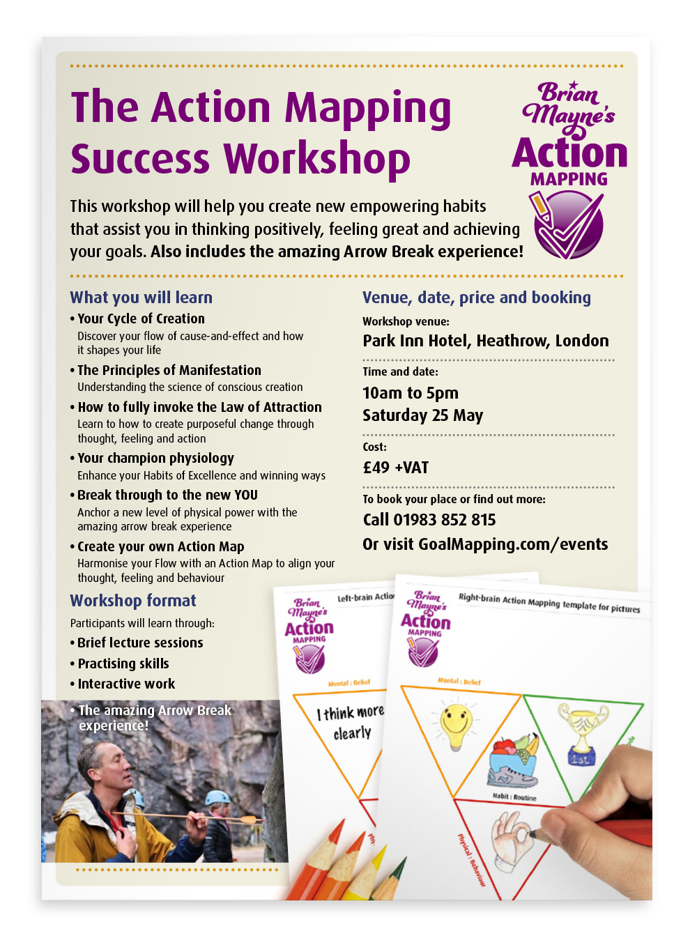 2-page flyer for an Action Mapping workshop