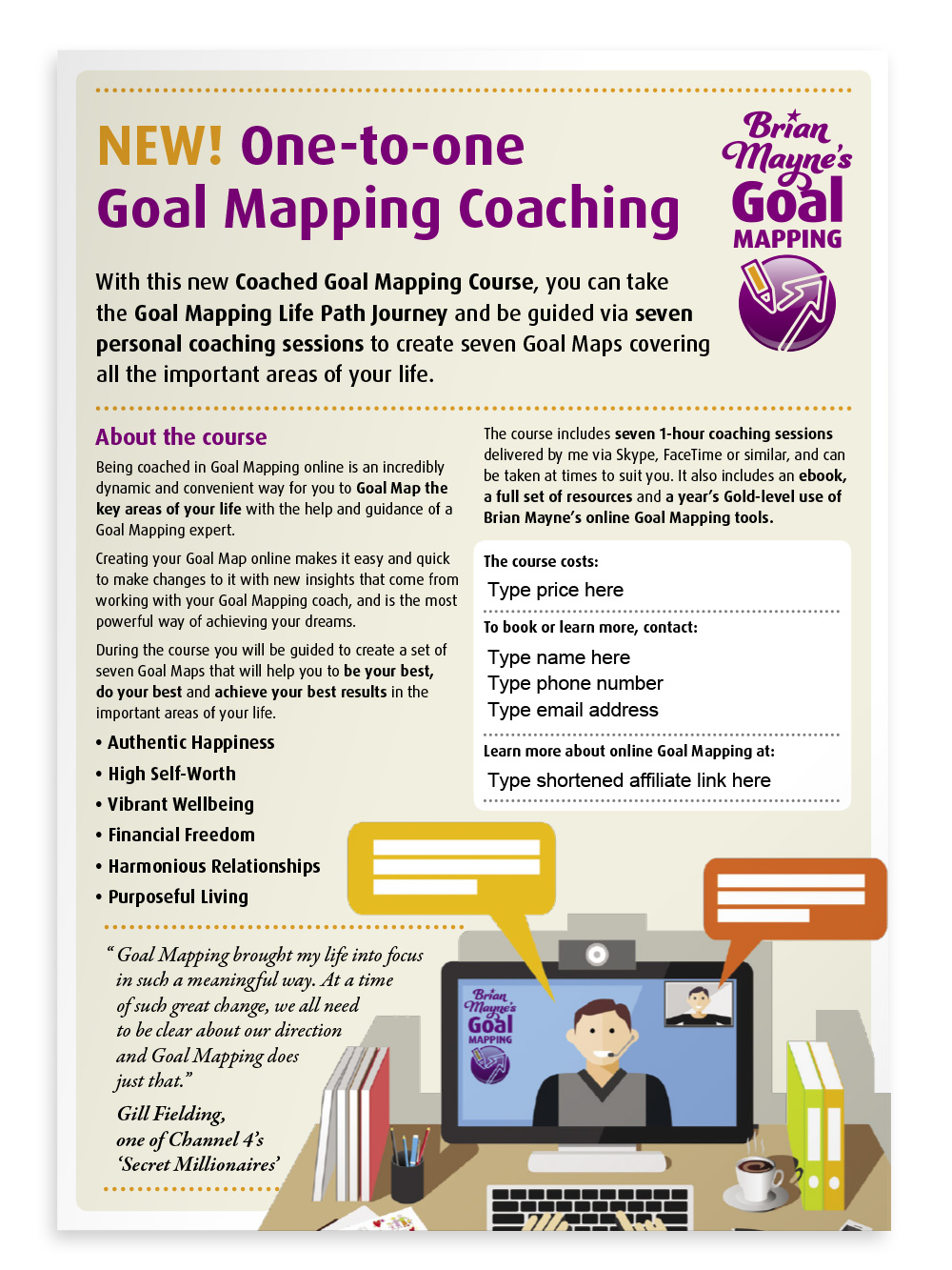 Editable single-page flyer promoting Goal Mapping coaching