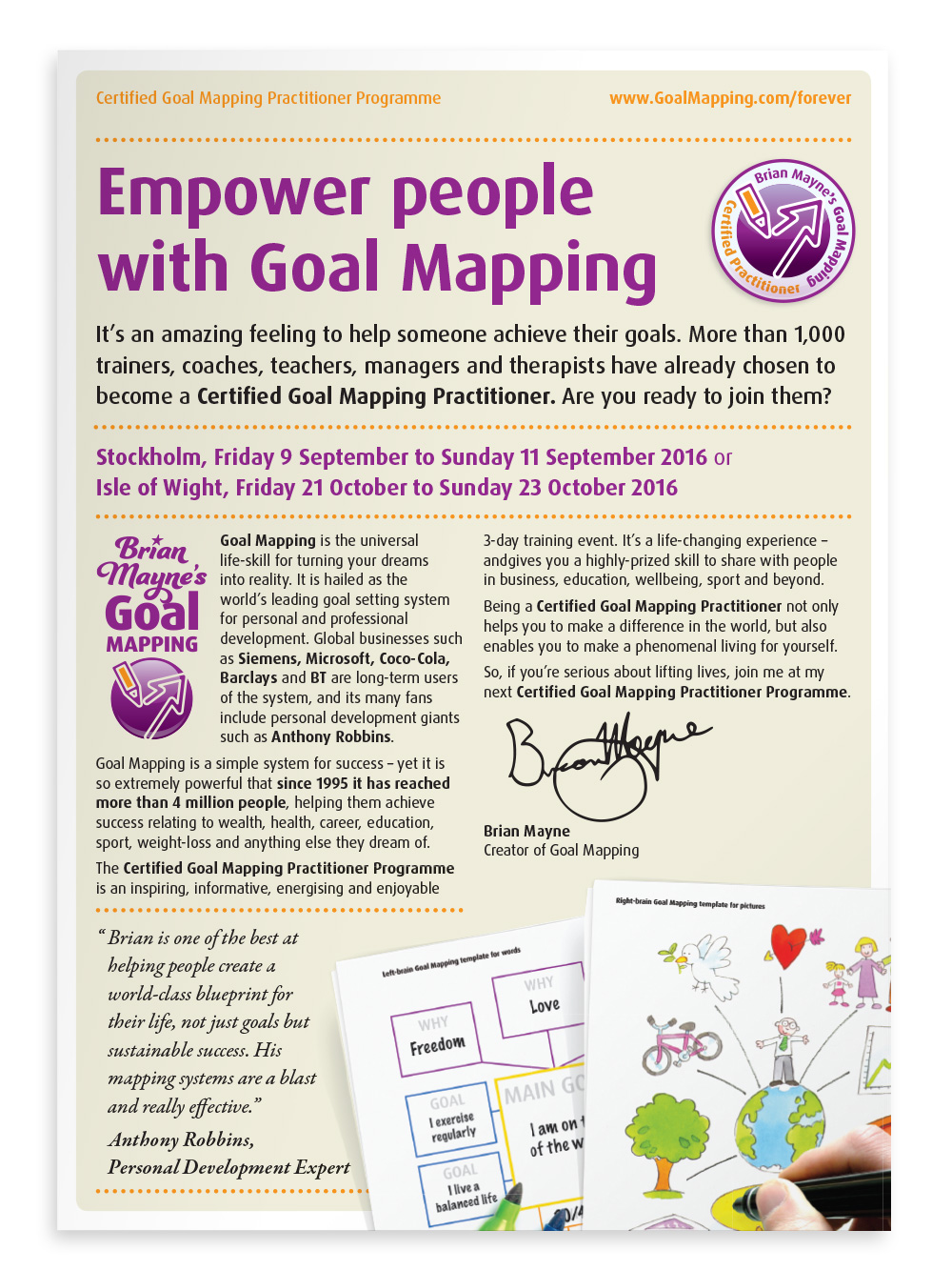2-page flyer for the Goal Mapping Practitioner Programme