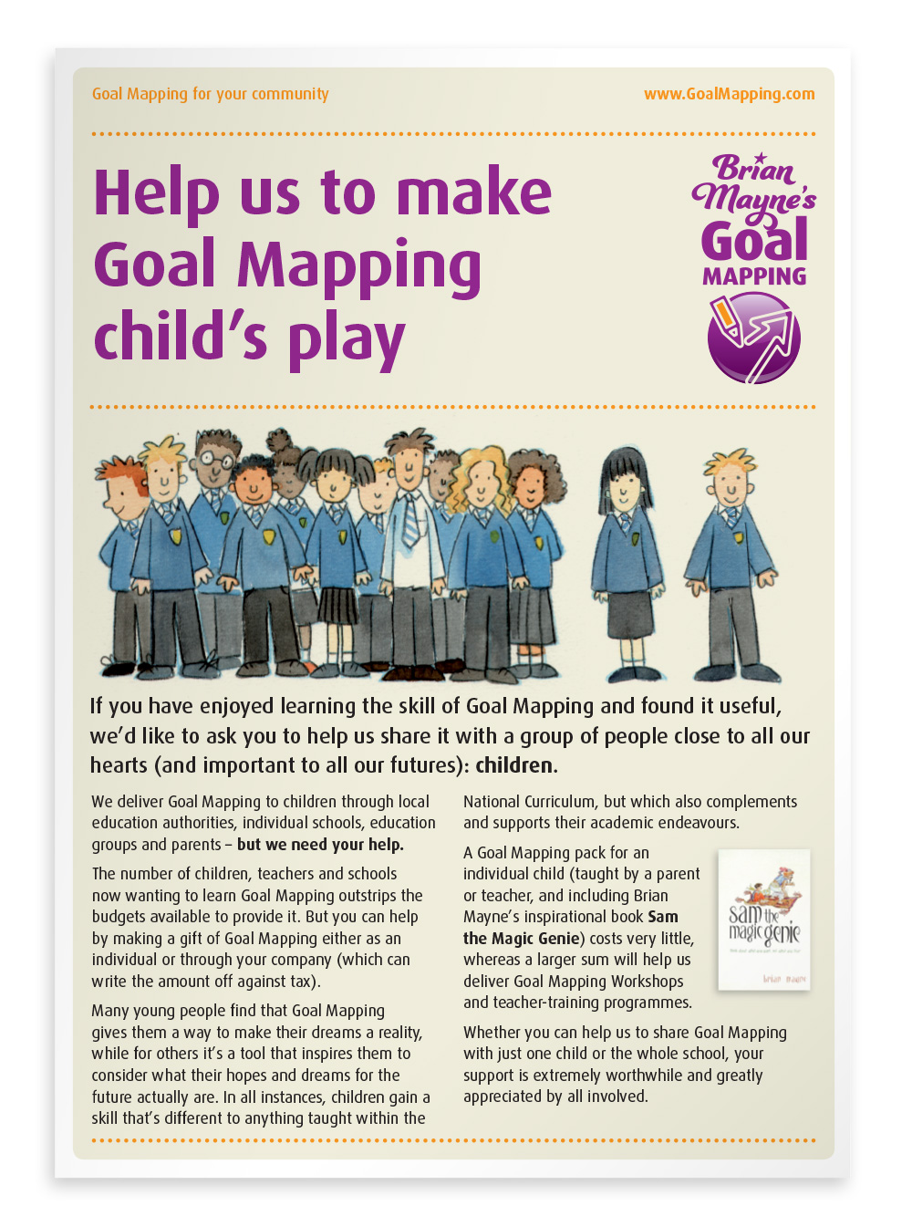 2-page flyer promoting Goal Mapping for children