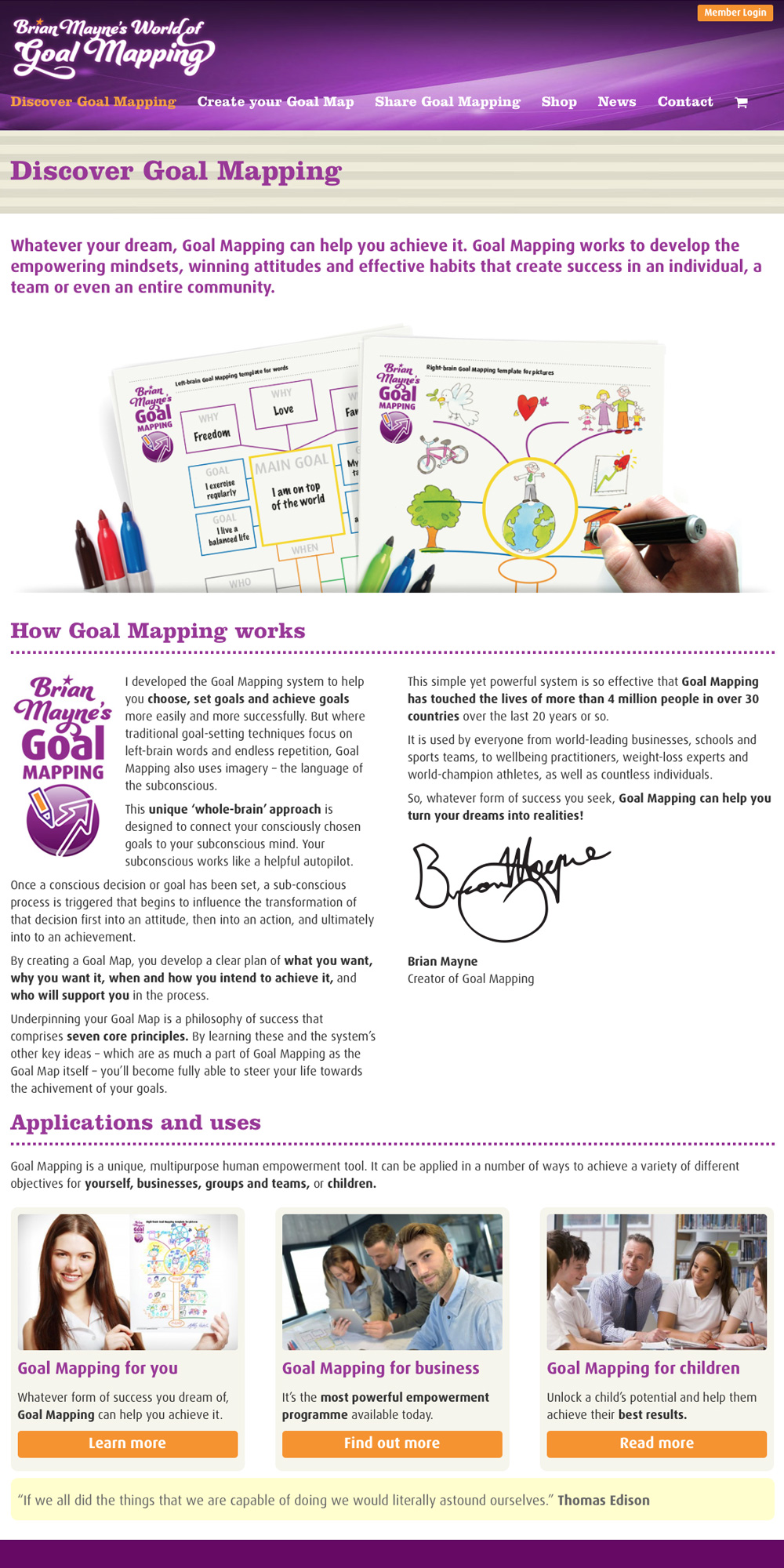 Brian Mayne's World of Goal Mapping website