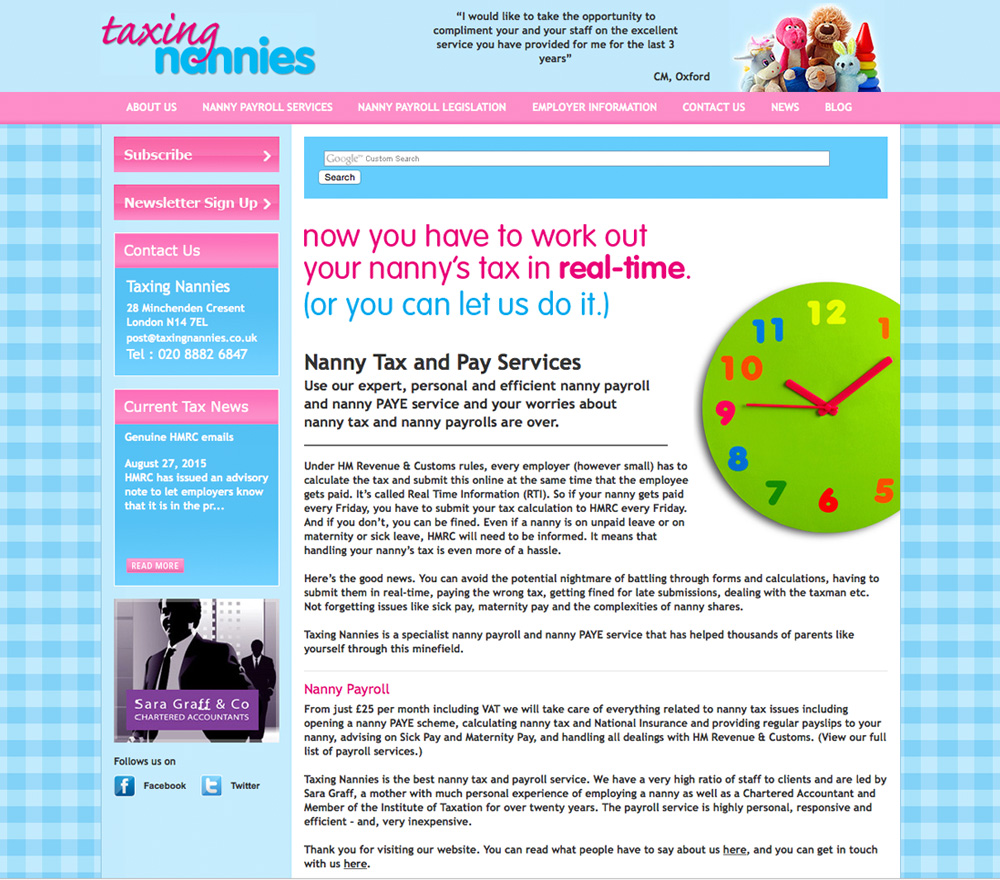 Taxing Nannies old website