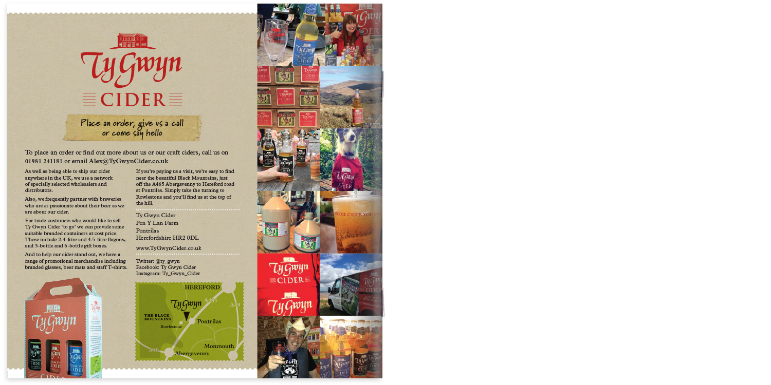 Ty Gwyn Cider trade brochure