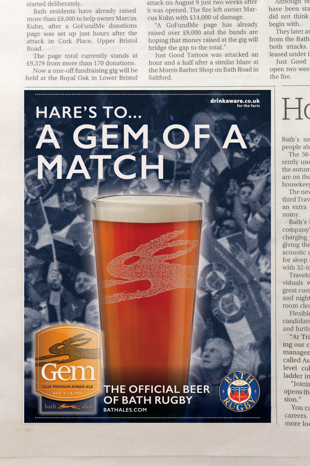 Bath Ales Bath Rugby sponsorship press ad