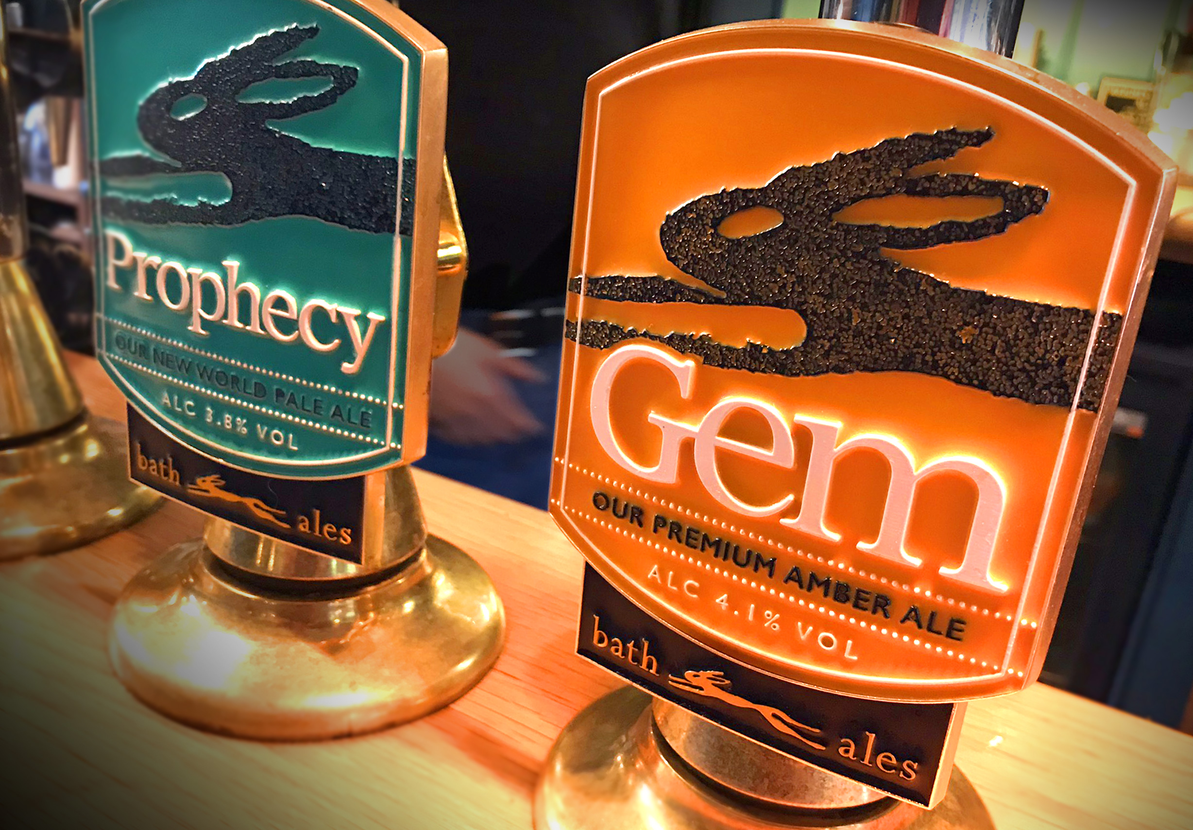Bath Ales Gem and Prophecy pump clips