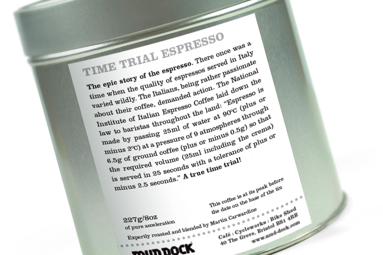 Mud Dock tin back label