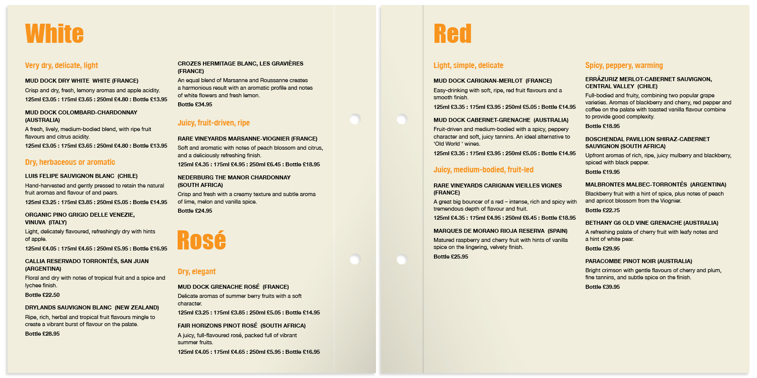 Mud Dock wine list pages